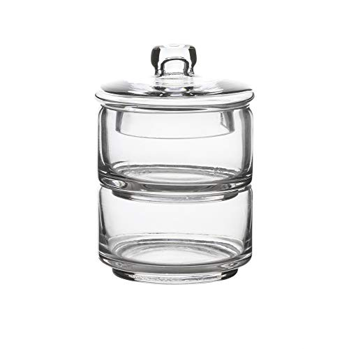 Hand Blown Glass Apothecary Jar- Glass Canister- Makeup Container (Glass Blown Hand Jar)