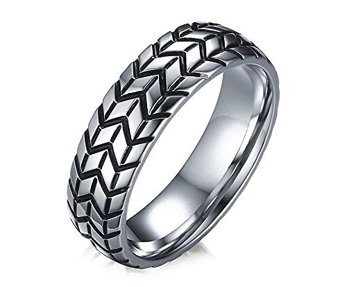 - Godyce Silver Stainless Steel Tire Rings Motorcycle Style for Mens Boys Size 10