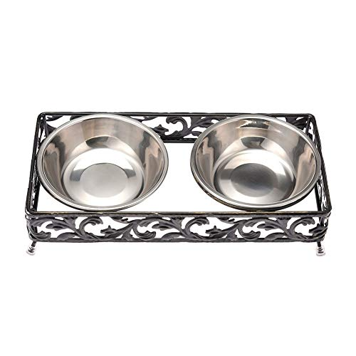 (SULYMY | Dog Feeding | Lace Retro Pet Bowls Iron Frame Stainless Steel Dog Double Bowls Raised Stand Feeder Food Water Bowls for Dogs Cats)