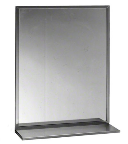 Series 165 (Bobrick 165 Series 430 Stainless Steel Channel Frame Glass Mirror, Bright Finish, 18