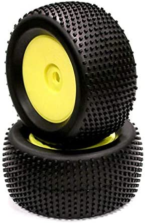 Integy RC Model Hop-ups C22772YELLOW Monster & 1/8 Truggy Dish Wheel + Tire (2) SQ-Pattern 17mm (O.D.=135mm)