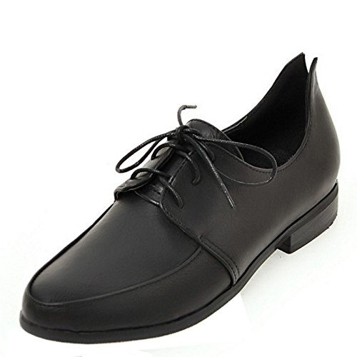 TAOFFEN negros de Zapatos con planos cordones cordones mujer casuales Zapatos con wUxqv6Yw