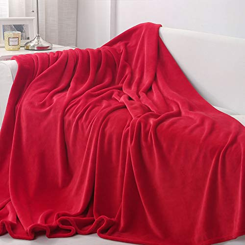 (Sedona House Flannel Fleece Blanket 280GSM Luxury Microfiber Flannel Super Soft Warm Fuzzy Cozy Lightweight Blanket for Bed Couch or Car Color Red Size Throw 50