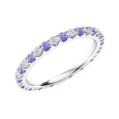 Diamondere Natural and Certified Tanzanite and Diamond Wedding Ring in 14K White Gold   0.81 Carat Full Eternity Stackable Band for Women, US Size 6