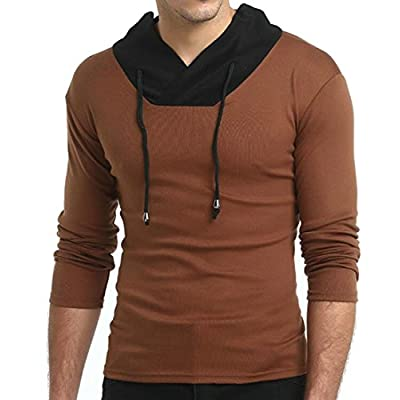 Discount Papijam Mens V-Neck Contrast Slim Splice Casual Long Sleeve T-Shirt Top hot sale