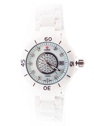 Price comparison product image Icetime Venus 35 Mm Stainless Steel & White Ceramic Case 0.15ct Diamonds Watch