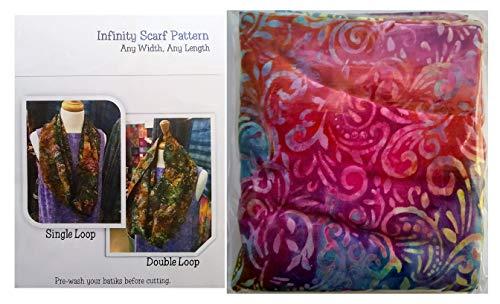 - SewBatik Infinity Scarf Kit - Red Rainbow Batik Fabric