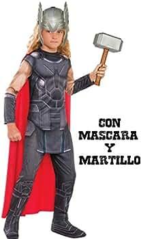 Disfraz de Thor con martillo y mascara - Niño, de 5 a 7 años