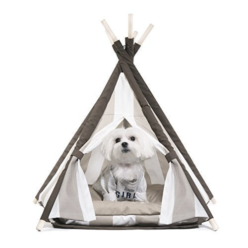 Cheap United Pups Designer Pet Teepee Tent with Matching Cushion Set for Dogs (Elegant Pups Striped Sandy Beach & White, Small)