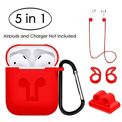 Jinxtech 5 in 1 Protective Case for Airpods Case Silicone Cover and Skin Compatible with Apple Airpods 1 & 2(Red)