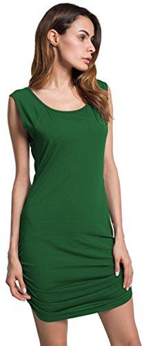 Janmid Women's Classic Slim Fit Sleeveless Midi Dress (XL, Blackish Green)