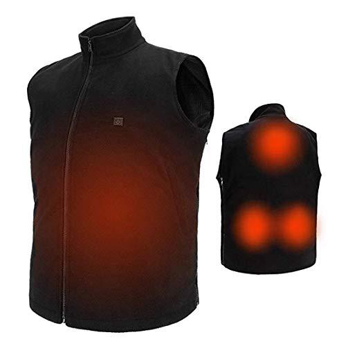 COZIHOMA USB Electric Heated Vest Size Adjustable Washable Heating Vest Clothing Black