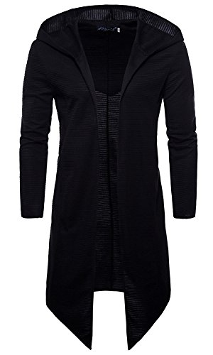 LifeHe Men's Black Long Hooded Cardigan Large Cape Cloak Coat Hoodies (Black, L)