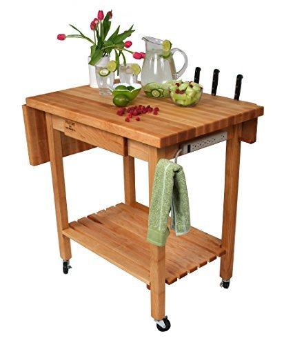 Bon John Boos Kitchen Culinary Cart W 12 In. Drop Leaf