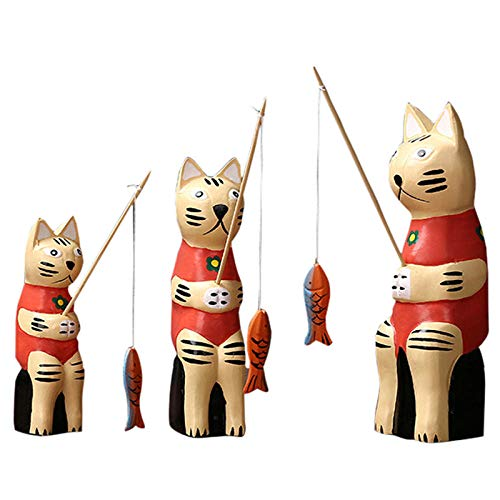 DSZXHN Statues for Home Decor,Creative Cute Wooden Three Fishing Cat covid 19 (Cat Fishing Sculpture coronavirus)