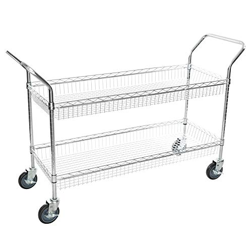 Chrome Open Base Utility Cart - TableTop King Chrome Two Basket Utility Cart - 18