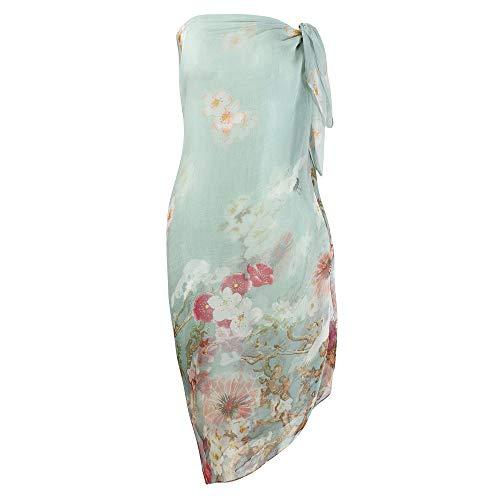 Chiffon Wrap Floral (Womens Sexy Bohemian Floral Beach Cover up Sarong Wrap Swimsuit Beachwear (Green(Flower)))