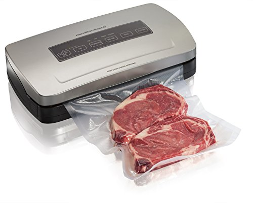 Hamilton Beach 78220 Vacuum Sealer Machine with Bag Cutter, Food Sealing Starter Kit , Silver