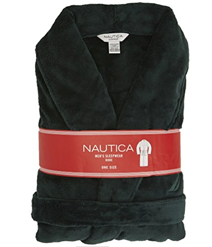 Nautica Men Plush Shawl Collar Robe (Dark (Nautica Mens Robe)