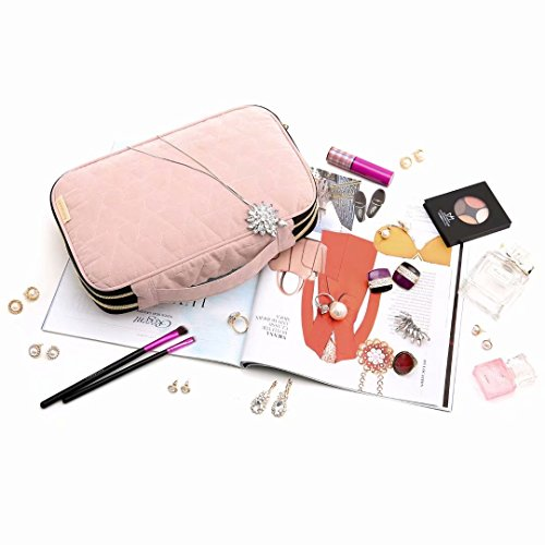 BAGSMART Double Layer Travel Jewelry Organizer Jewelry Storage Carrying Cases for Earrings, Necklaces, Rings, Pink by BAGSMART (Image #2)
