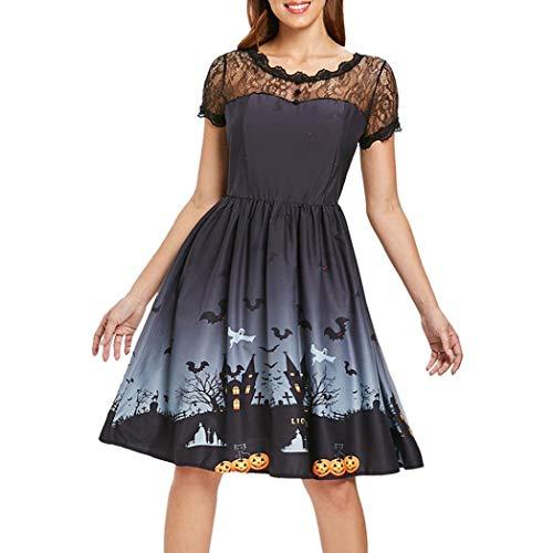 - Anxinke Women Vintage Lace Splice Short Sleeve Dress Halloween Empire Waist Swing Dresses (M, Black)