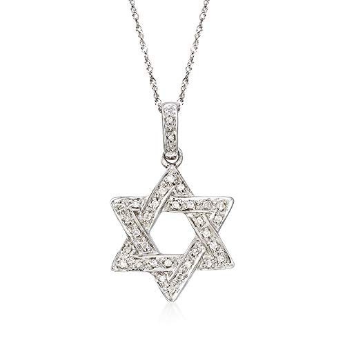 - Ross-Simons 0.18 ct. t.w. Diamond Star Of David Necklace in 14kt White Gold