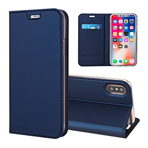 Mpaltor iPhone 9 Plus - Backcase Cover Wallet Style Flip Cover Case For iPhone 9 Plus ONLY (iPhone 9 Plus Cover Navy Blue) ()