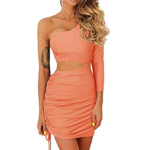DEATU Hot Sale! Women Dress Ladies Sexy Slim Chic Pretty Long Sleeve One Shoulder Bandage Club wear Bodycon Dress(Orange,L)