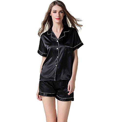 NANJUN Women's Satin Pajamas Sleepwear Short Button-Down Pj - Black Pajamas Silk