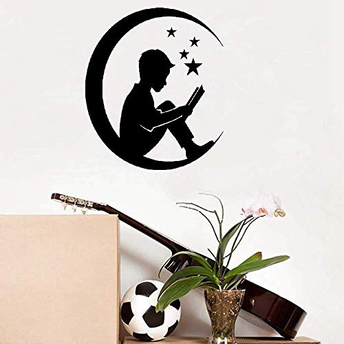 ickers Removable Vinyl Art Decal Star Moon Boy with Fairy Tales Book ()