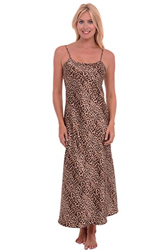Del Rossa Womens Satin Printed Nightgown, Full Length Camisole Chemise