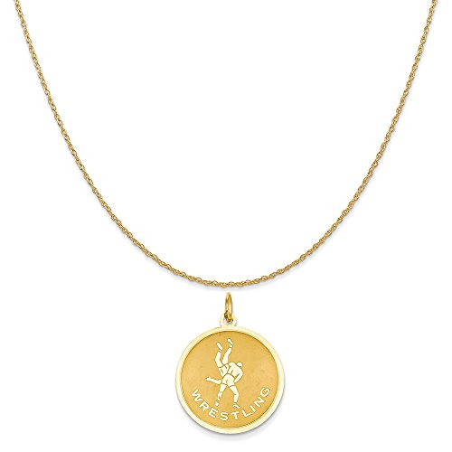 14k Yellow Gold Wrestling Charm on a 14K Yellow Gold Rope Chain Necklace, 16'' by Mireval