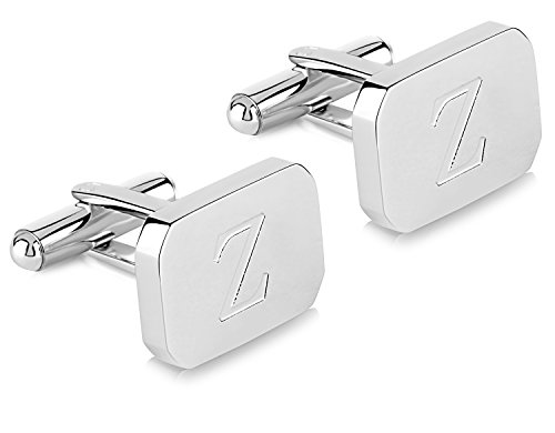 - Lux White-Gold Plated Monogram Initial Engraved Stainless Steel Man's Cufflinks Gift Box -Personalized Alphabet Letter's Pier (Z- White Gold)