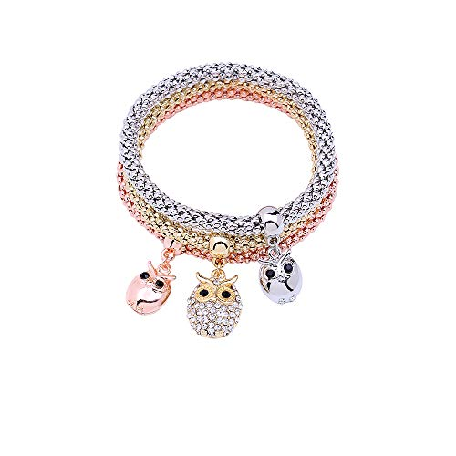 MEIDIJINGBEI 3PCS Silver Rose Gold Corn Chain Crystal Charms Multilayer Owl Bracelets for Women