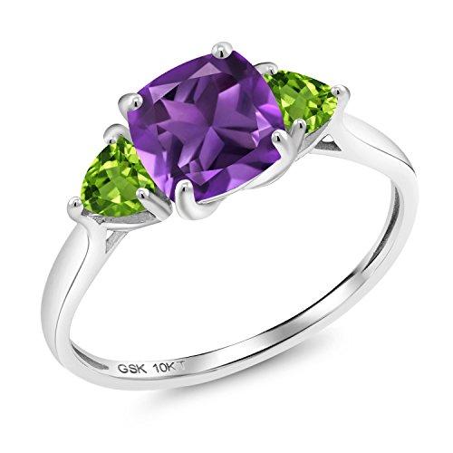 (Gem Stone King 1.92 Ct Cushion Purple Amethyst Green Peridot 10K White Gold 3 Stone Meghan Ring (Size 7))