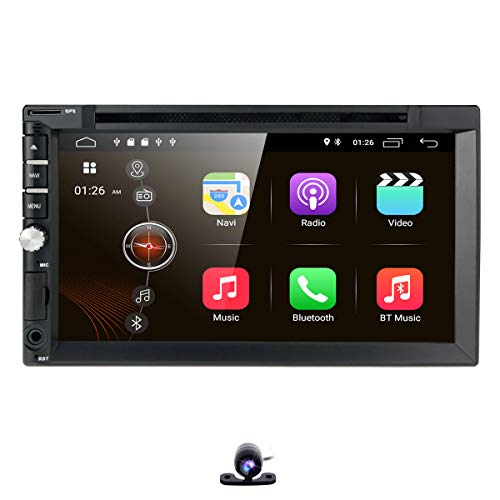 hizpo Universal 2 Din Car Auto Radio Android 9.0 Double Din DVD Player Head Unit with 7 inch Touch Screen Support GPS WiFi DAB+ Android/iPhone Mirrolink Steering Wheel Control Free Camera