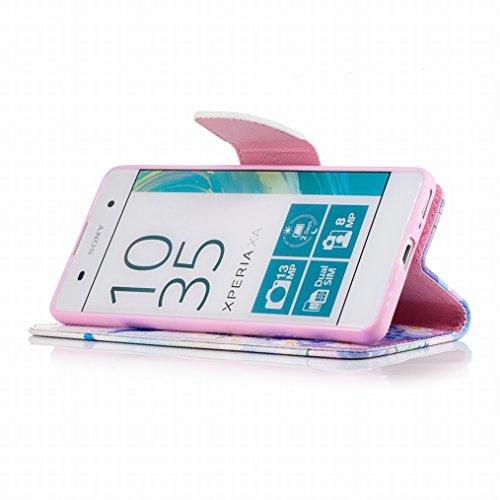 LEMORRY Sony Xperia XA Custodia Pelle Cuoio Flip Portafoglio Borsa Sottile Fit Bumper Protettivo Magnetico Chiusura Morbido Silicone TPU Case Cover Custodia per Sony Xperia XA, Elegante Farfalla