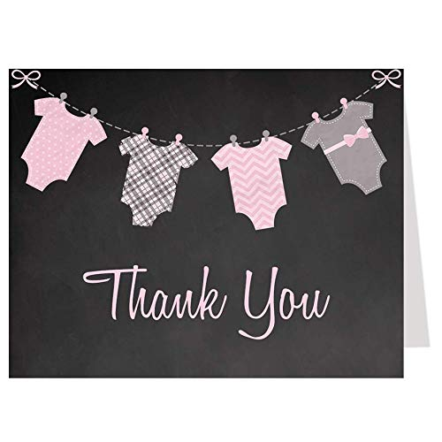 Chalkboard Onesie, Thank You Cards, Chalkboard, Little Miss, Baby Shower Sprinkle, Spring Shower, Pink, Gray, 50 Folding Notes with Envelopes, FREE Shipping