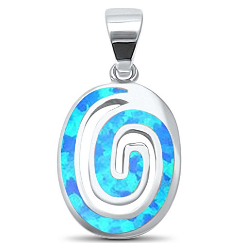 Lab Created Blue Opal Swirl .925 Sterling Silver Charm Pendant