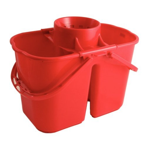 Mop Colour Coded (Colour Coded Twin Mop Buckets - Colour: red. 7 & 8 Litre Section Capacities. by Jantex)