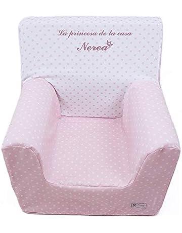 Sillón o asiento infantil PERSONALIZADO de espuma para bebés y niños. Modelo Estrellas rosa