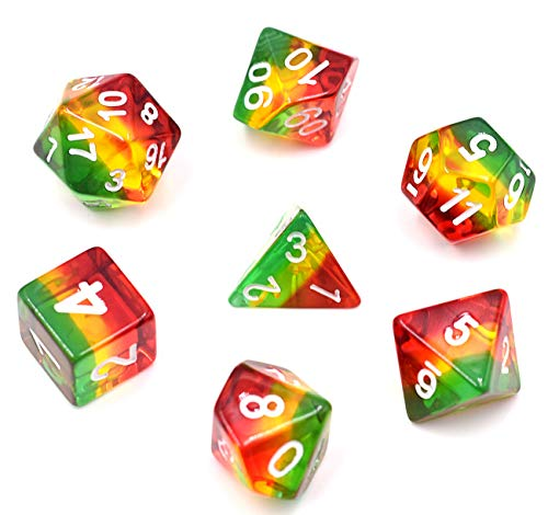 HDdais Polyhedral Transparent DND Dice Sets D&D Dice for Dungeons & Dragons Pathfinder Table Gaming Dice Collections with Velvet Bag(Green,Yellow,red)