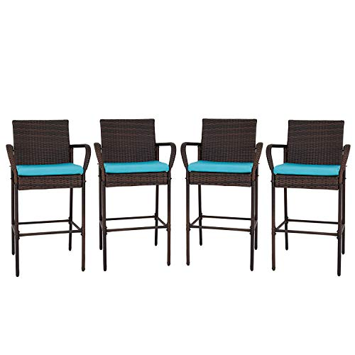 Kinbor Wicker Bar Stool Outdoor Backyard Rattan Chair Patio Furniture Chair with Cushions, Armrest and Footrest, Set of 4