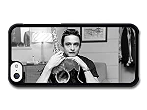 Johnny Cash Black and White Portrait with Acoustic Guitar case for iPhone 5C wangjiang maoyi by lolosakes