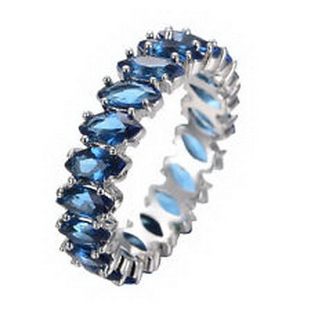 [jacob alex ring Rings Size 10 Blue Marquis Zircon Band Women's 10Kt White Gold Filled Wedding] (14k Marquis)