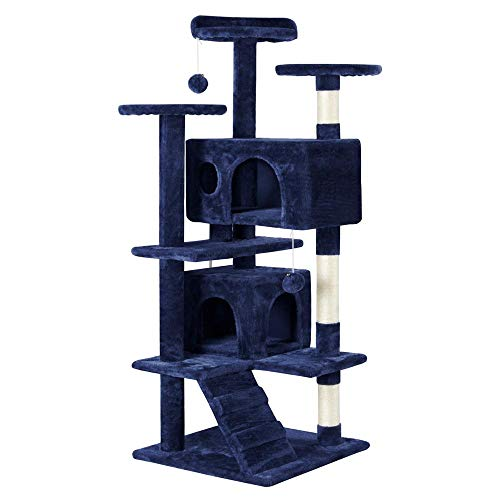 """Yaheetech 51"""" Cat Tree Tower Condo Furniture Scratch Post for Kittens Pet House Play Navy Blue"""