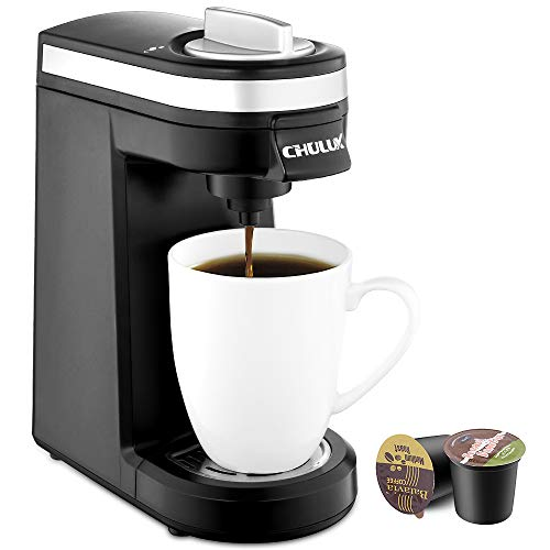 - CHULUX Single Serve Coffee Maker, Personal Coffee Brewer Machine for Single Cup Pods & Reusable Filter, 12oz Water Tank, Quick Brewing, One Touch Operation, Compact Size, for Office, Travel