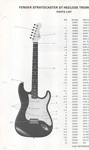 Parts List Diagram for FENDER Stratocaster ST-462 (Less Tremolo) Electric Guitar (278700)