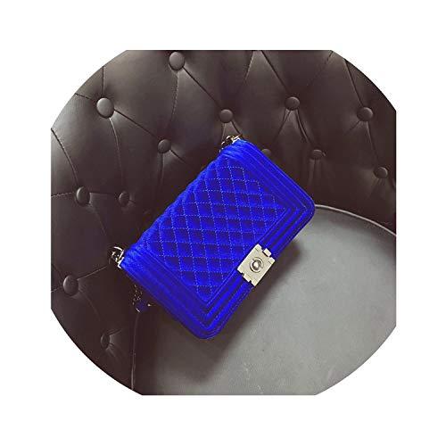 Brand Crossbody Bags Diamond Lattice Women Bag Designer Handbags Chain Ladies Women Messenger Bag,Velvet Blue
