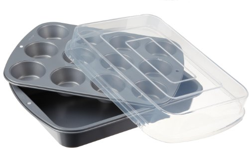 Wilton 2105-0585 Nonstick 3-Piece Cake and Cupcake Covered Bake Set (Wilton Covered Cake Pan)